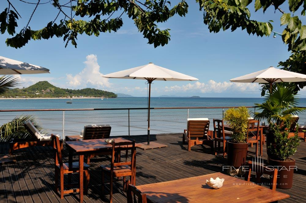 Enjoy open terrace dining at LHeure Bleue Hotel, Madagascar