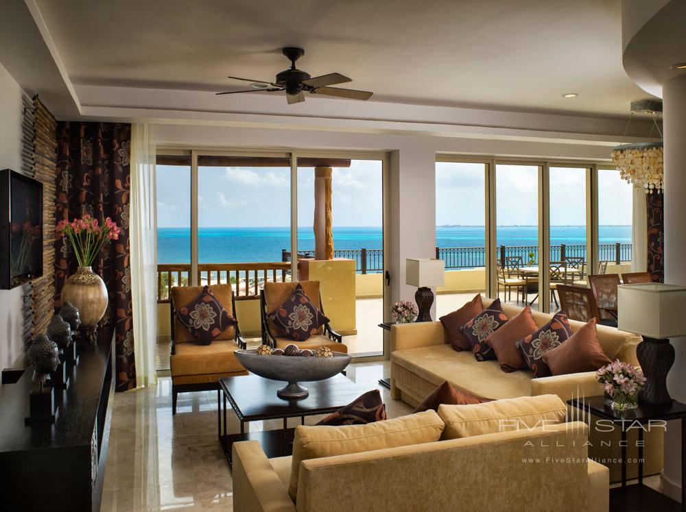 Three Bedroom Penthouse Living Area with Balcony, Villa del Palmar Cancun, Mexico