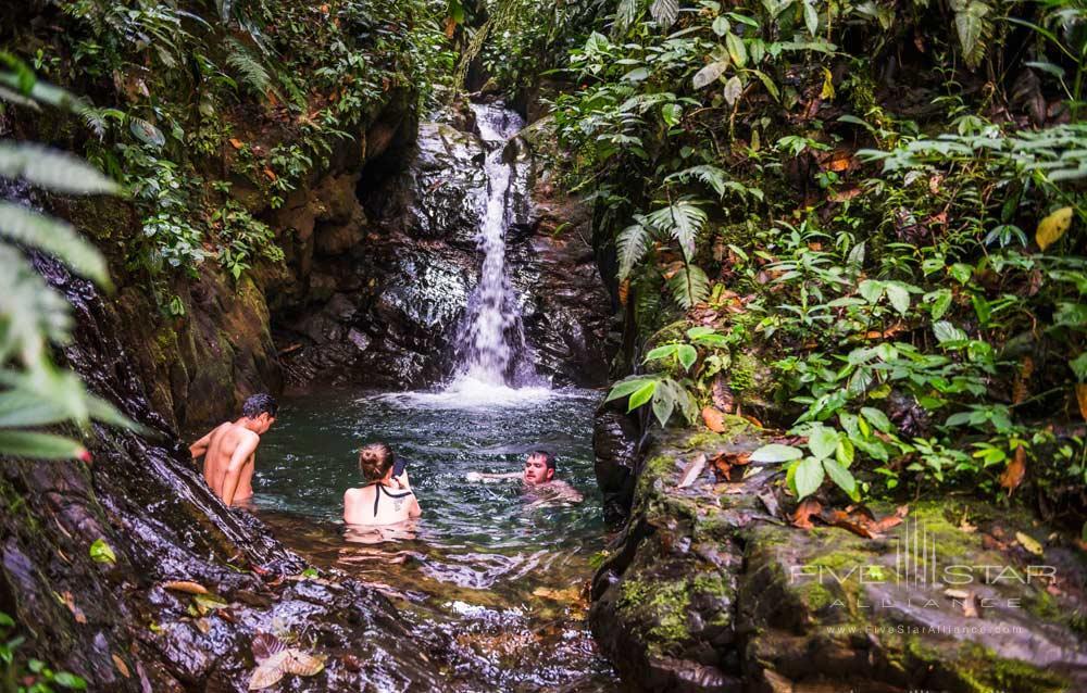 Take a swim under Cucharillos Waterfall in The Choco Rainforest Mashpi Lodge, Ecuador