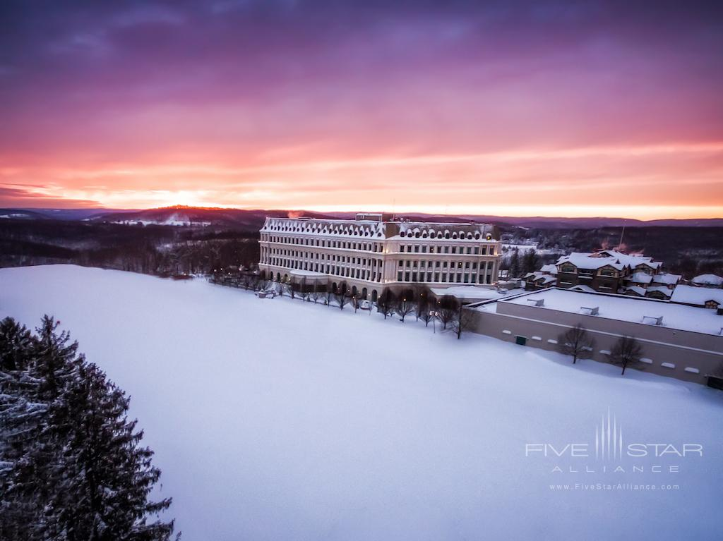 Winter Sunset Over Chateau Lafayette at Nemacolin Woodlands Resort
