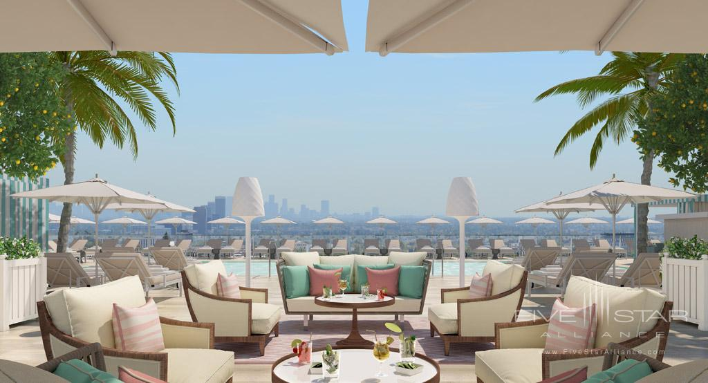 Rooftop Lounge and Views at Waldorf Astoria Beverly Hills, CA