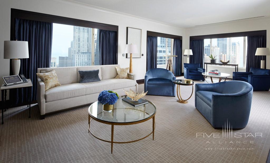 Lake Suite Living Room at The Peninsula Chicago, IL