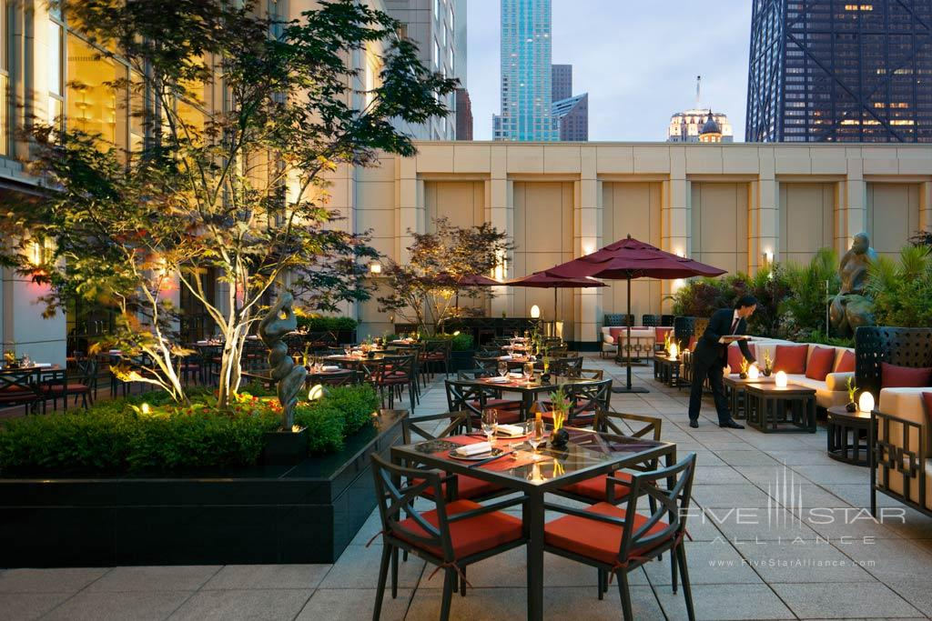 Terrace Views at Dusk at The Peninsula Chicago, IL