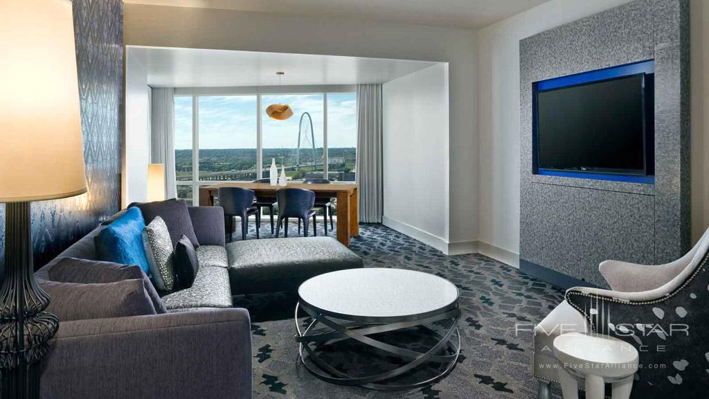 Marvelous Suite Living Room at W Dallas Victory, Dallas, TX
