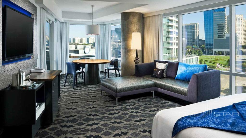 Cool Corner Guest Room at W Dallas Victory, Dallas, TX