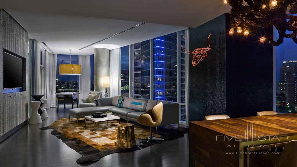 Extreme Wow Suite Living Room at W Dallas Victory, Dallas, TX