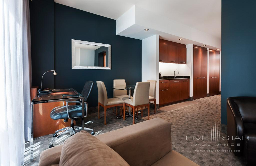 Deluxe King Suite Living Room at Hotel Le Crystal, Montreal, Quebec, Canada