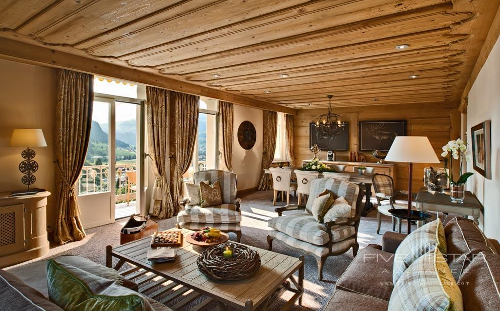 Corner Suite Living Room at Gstaad Palace Hotel, Switzerland