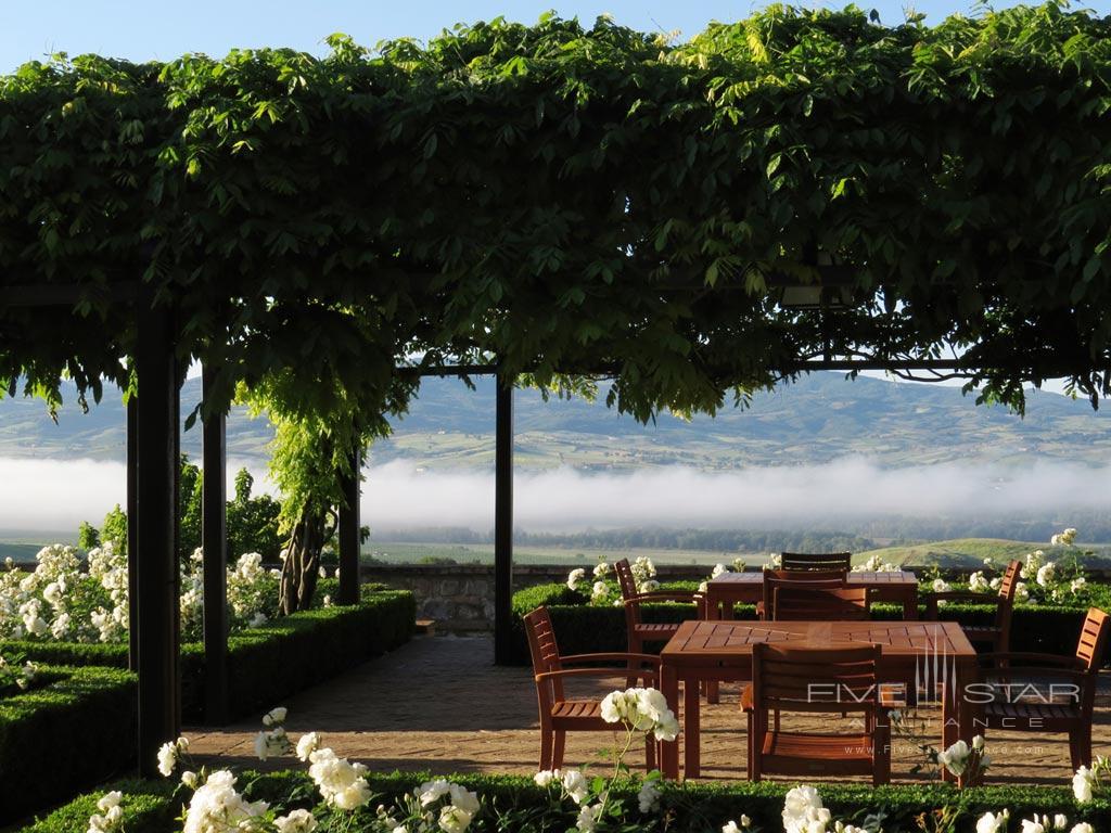 Lounge by The Lovely Rose Garden at Castello Banfi - Il Borgo, Montalcino, Siena, Italy