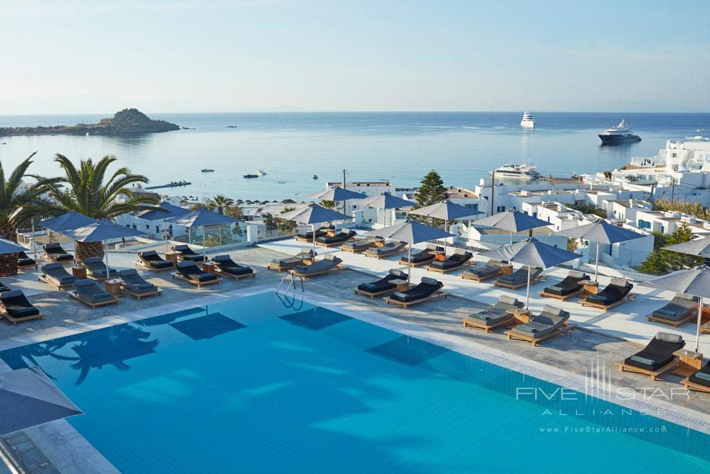 Pool and Lounge at Myconian Ambassador Hotel and Thalasso Spa , Mykonos, Greece
