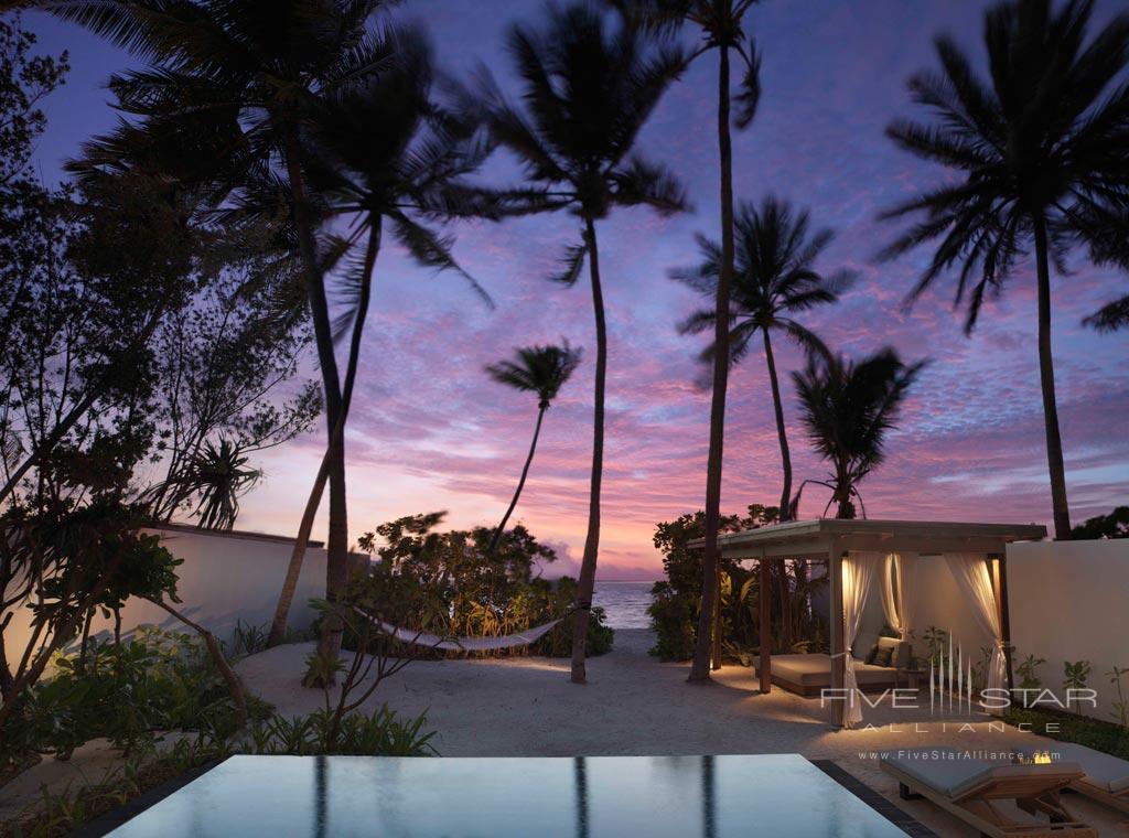 Premium Beach Villa Gardens at Fairmont Maldives Sirru Fen Fushi, Maldives