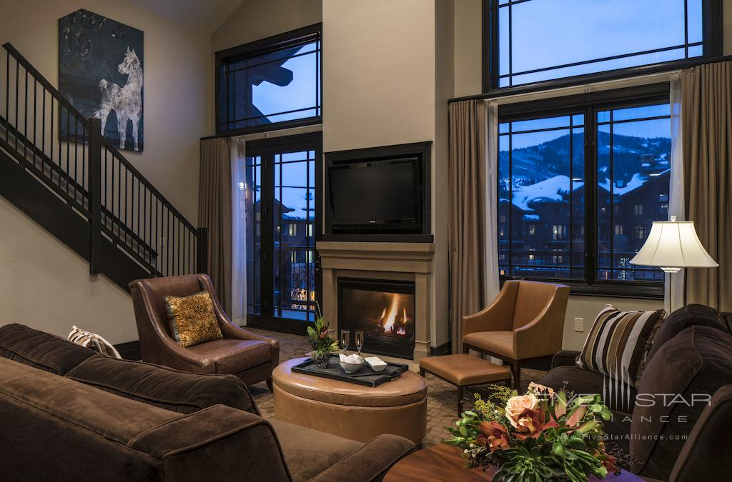 Bi-Level Two Bedroom Suite Living Room at Waldorf Astoria Park City