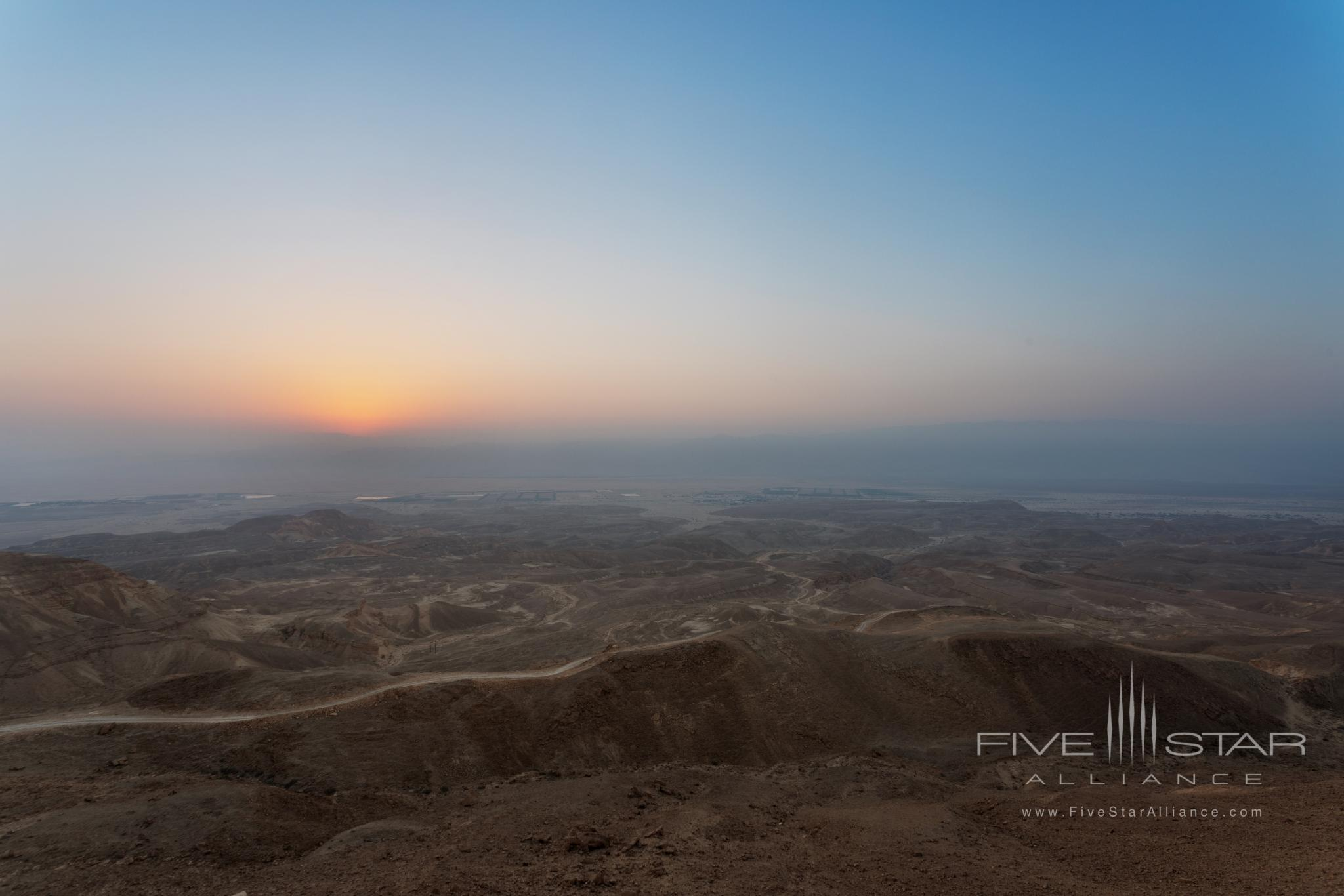 Six Senses Shaharut Sunrise over the access road