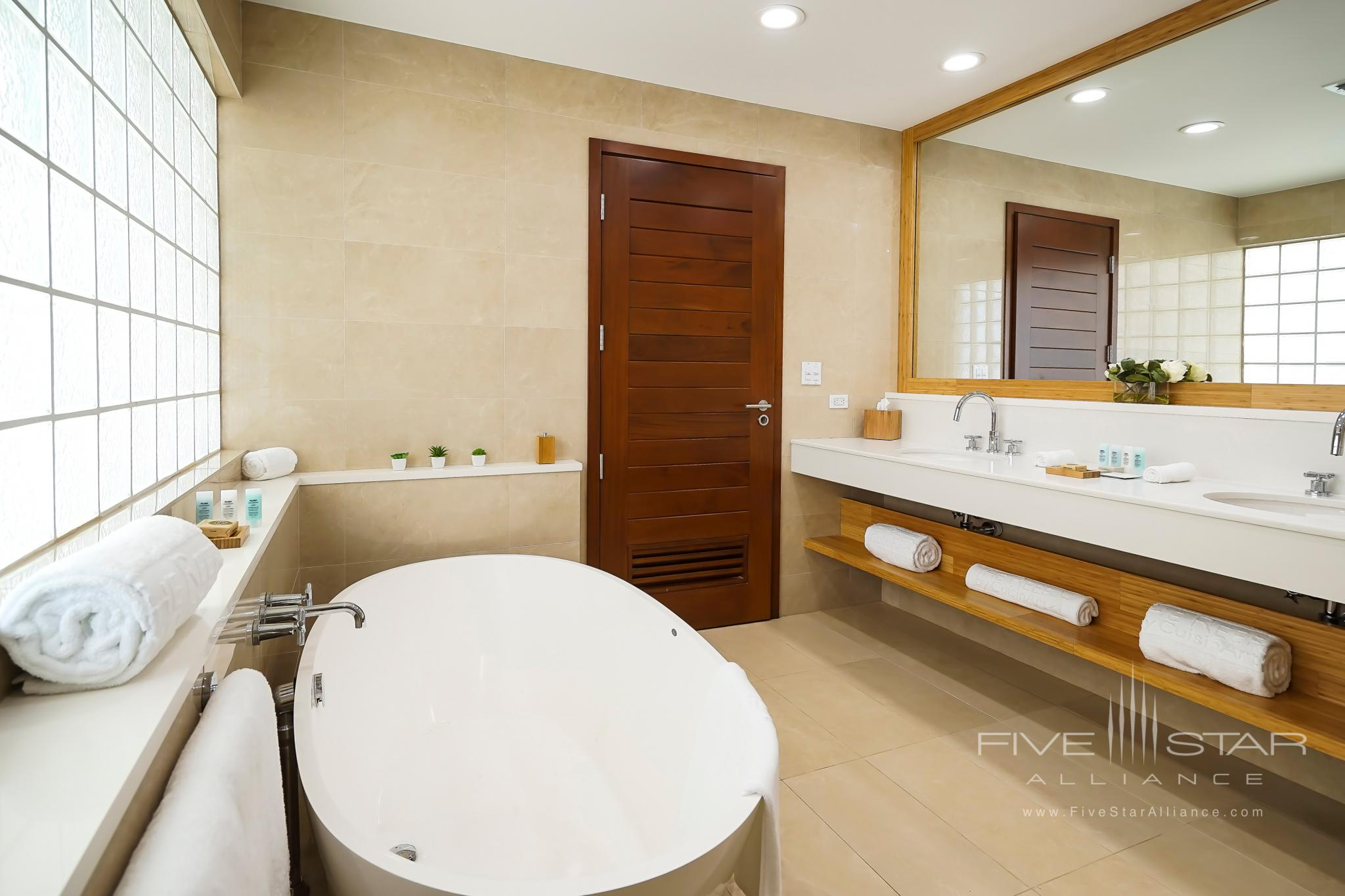 Guest Room Bath in the Main Building at Aurora Anguilla