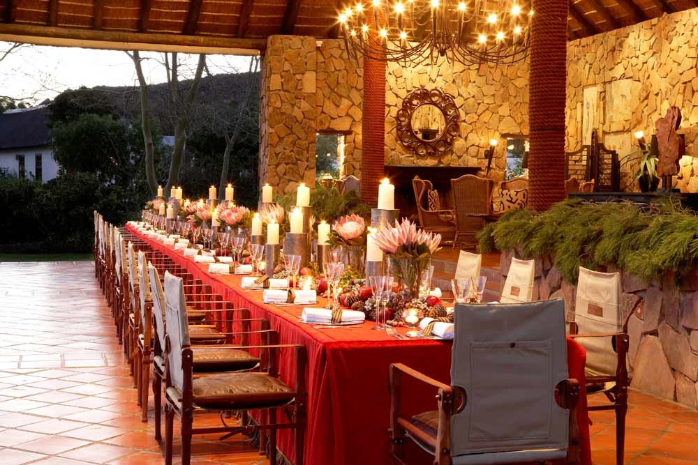 Christmas Dining Setup at Bushman's Kloof Wilderness Reserve