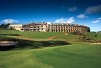 Golf course and hotel exterior