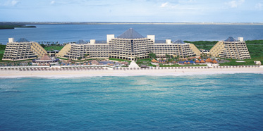 Paradisus Cancun from an aerial view