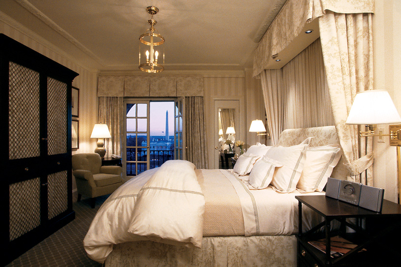 Guest room at the Hay-Adams Hotel