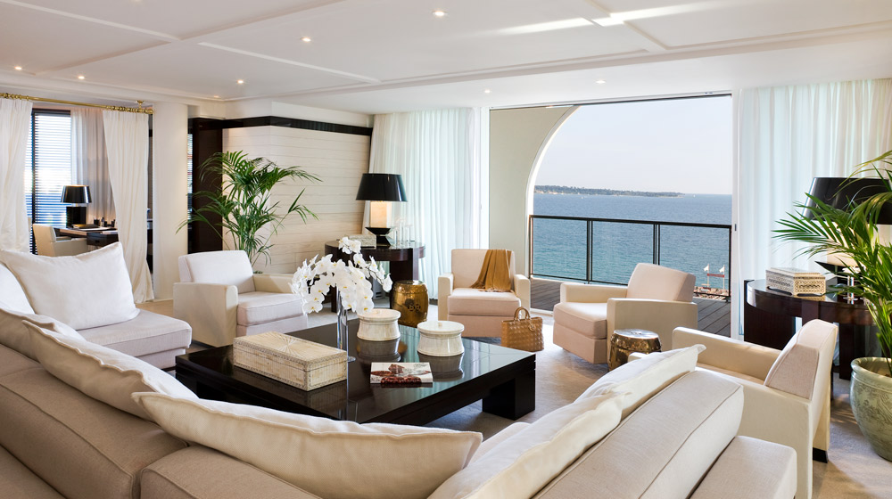 Suite Living Room at Hotel Barriere Le Majestic Cannes, France