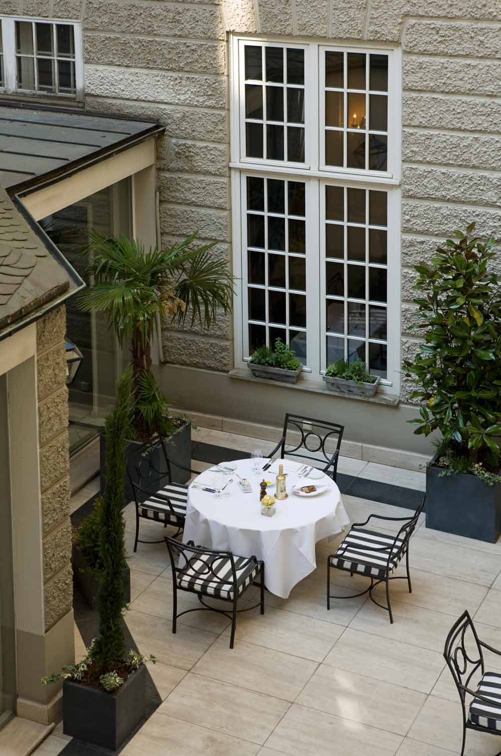 Courtyard Terrace at Excelsior Hotel Ernst in Cologne, North-Rhein Westphalia, Germany