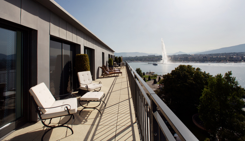 Geneva View from the Terrace of Armleder Suite at Le Richemond