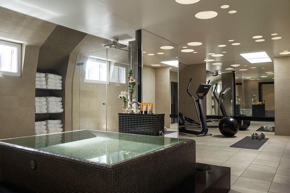 Bathroom Spa area of the Princess Lilian Suite, on the top floor of the Grand Hotel Stockholm with exercise equipment.