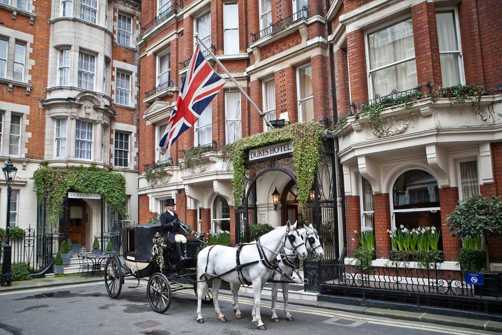 Exterior of Dukes Hotel, London, UK