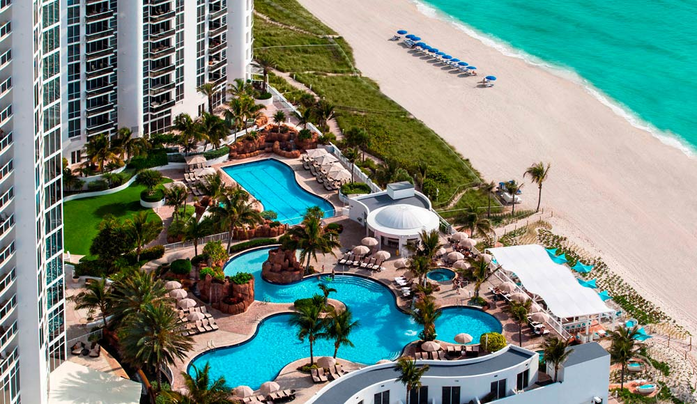 Aerial View of Resort and Beach at Trump International Beach Resort in Sunny Isles Beach, FL
