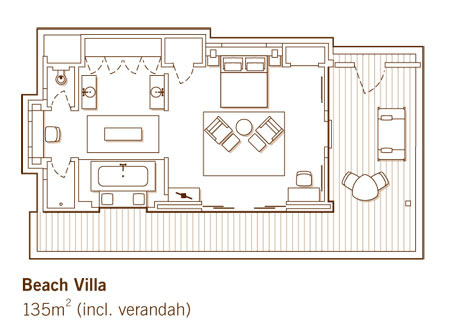 One & Only Reethi Rah Beach Villa Floor Plan