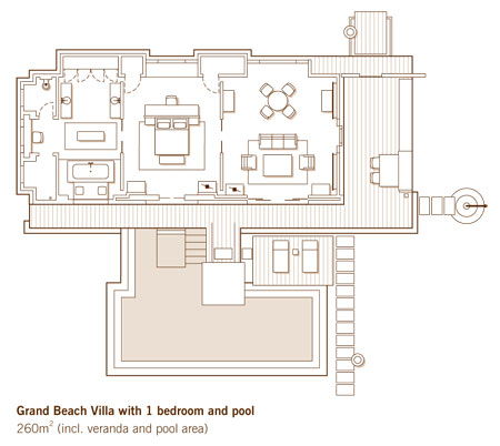 One & Only Reethi Rah Grand Beach Villa with 1 bedroom and pool Floor Plan