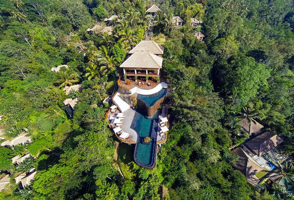 Aerial shot of Hanging Gardens Ubud in Bali, Indonesia