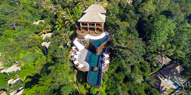 Aerial shot of Hanging Gardens Ubud in Bali, Indonesia