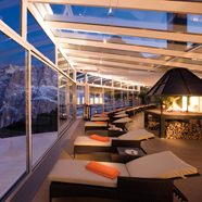 Terrace at AlpenRoyal Grand Hotel, Dolomites, Italy