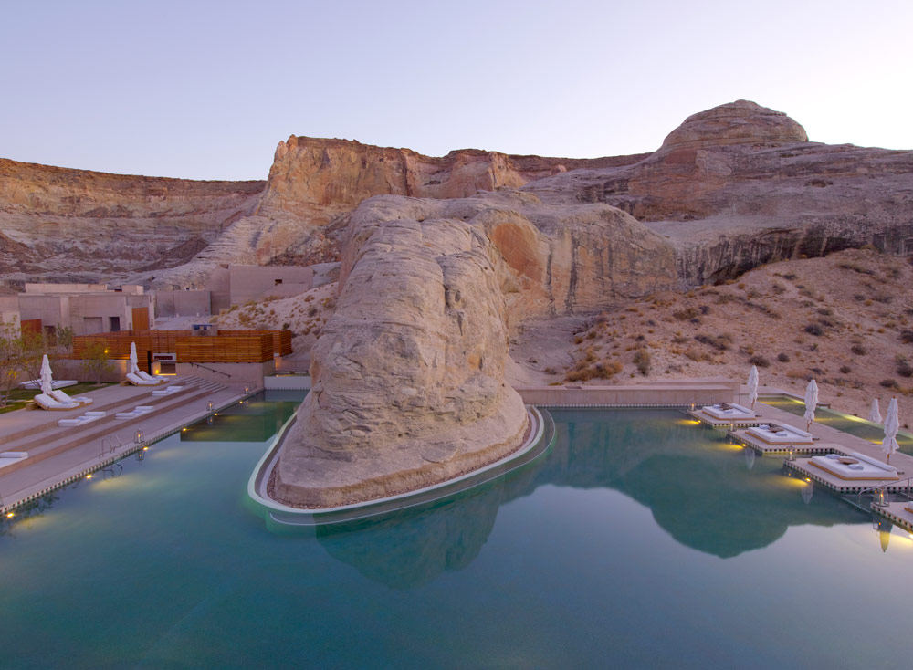 The swimming pool at dusk at Amangiri in Canyon Point, Southern Utah courtesy of Amanresorts