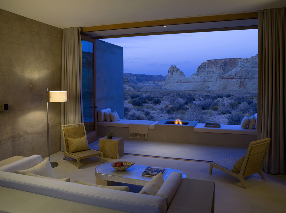 View of an evening fire from a Mesa View Suite at Amangiri in Canyon Point, Southern Utah courtesy of Amanresorts