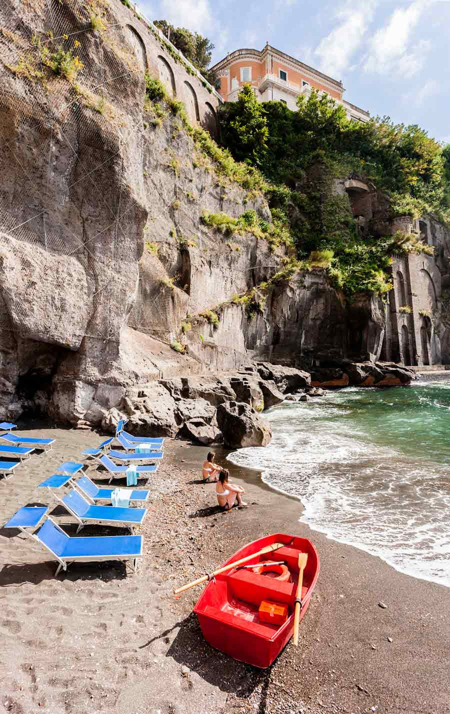The beach at  Grand Hotel Cocumella in Sant'Agnello di Sorrento, Italy