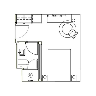 Guestroom floorplan at the James New York Soho Hotel
