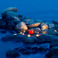 Romantic dinner on the rocks, Angsana Resort Bintan, Indonesia