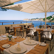 Fine Dining restaurant Pjerin at Villa Dubrovnik; an idyllic setting located on the cliffs overlooking the sea with an unrivalled view of the Old City