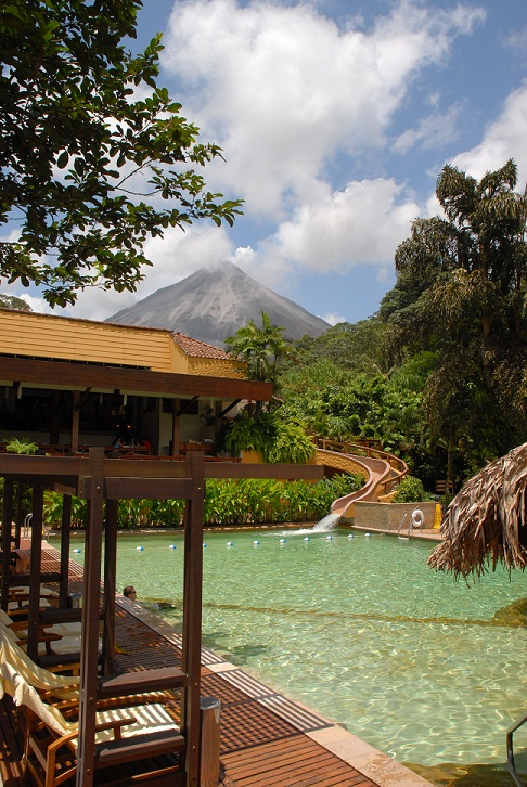 Tabacon Grand Spa Thermal Resort Volcano View from Pool.