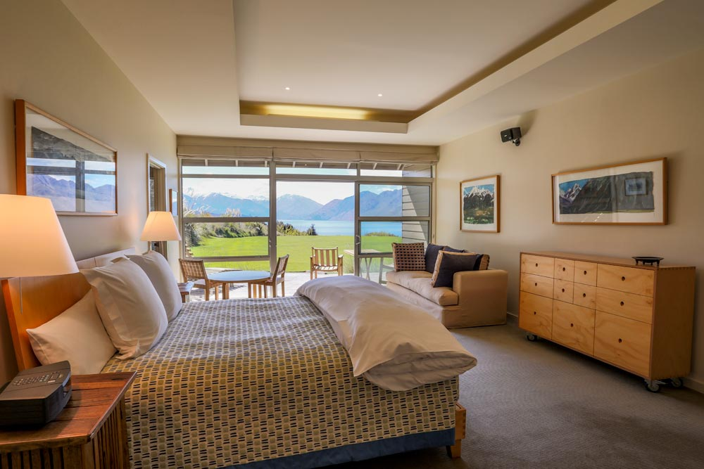 Master Suite with Lake and Mountain View at Whare Kea