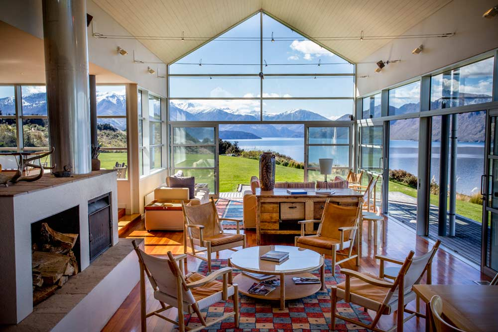 Lounge Area with Views of Lake Wanaka at Whare Kea