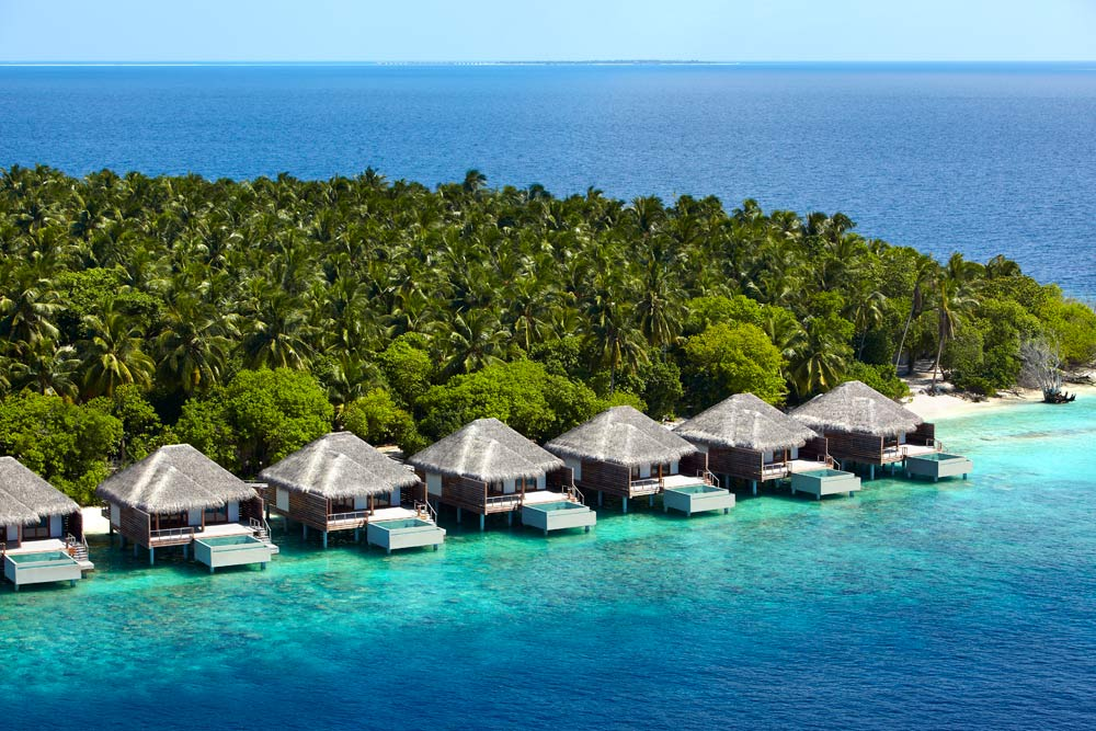 Aerial Views of Lagoon Villas at Dusit Thani Maldives