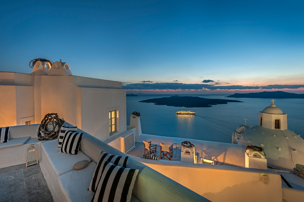 Terrace and Lounge at Aigialos Hotel, Santorini, Greece