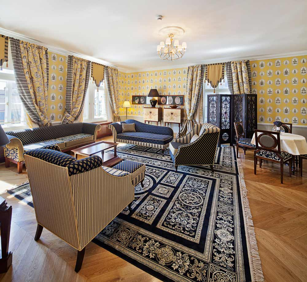 Luxury Suite Living Area at The Bonerowski Palace, Poland
