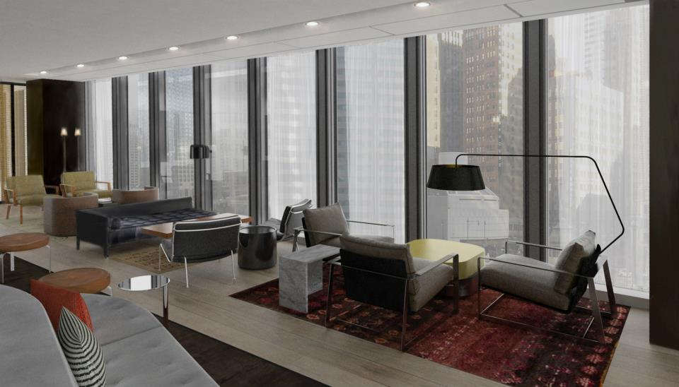 The Langham Chicago. The lounge at Travelle, offering spacious mid-century design and floor-to-ceiling views of the skyline and Chicago River.