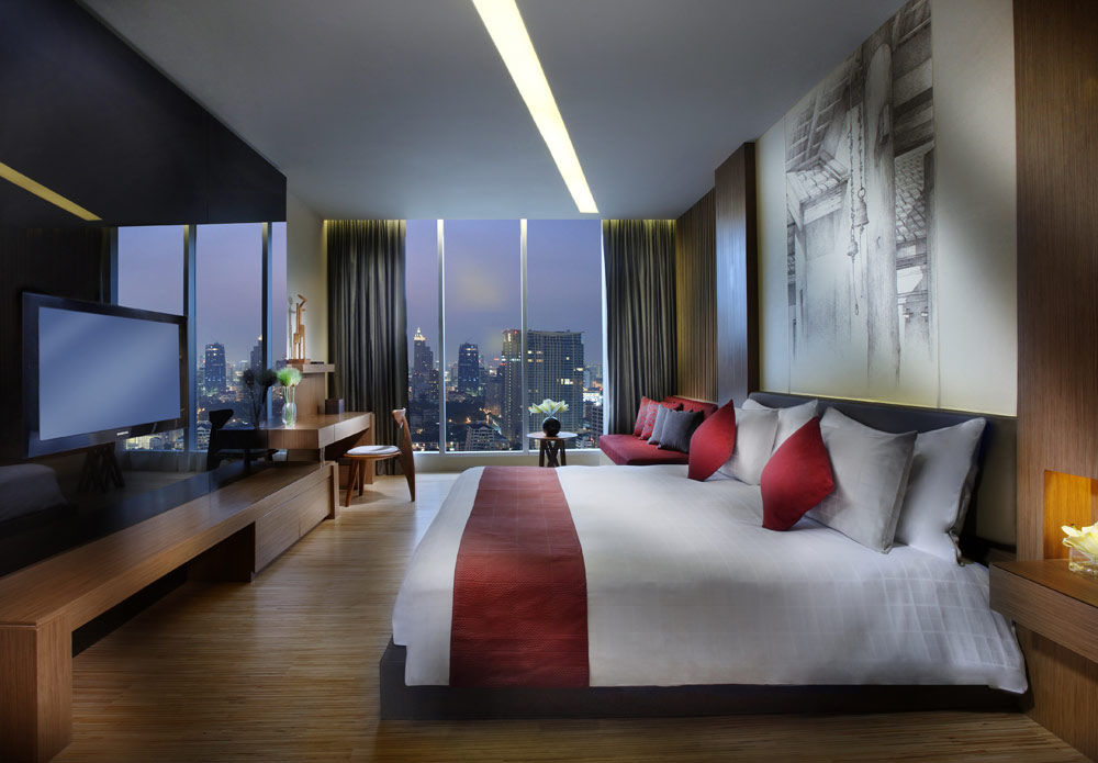 Wood Element Guest Room at The Sofitel So Bangkok Hotel