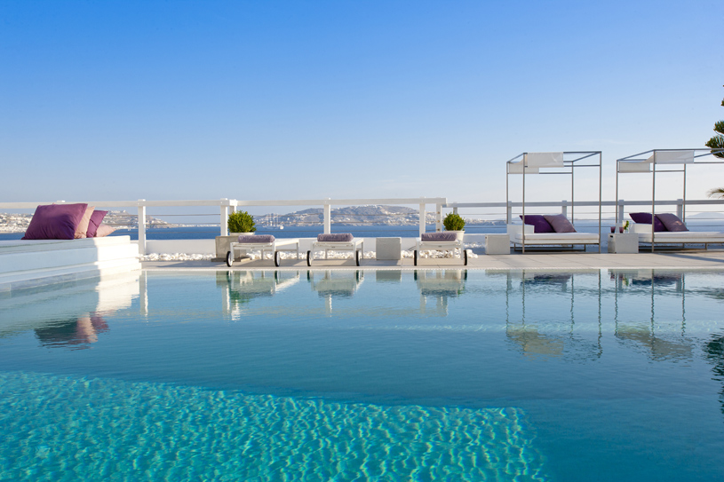 Pool and Sunloungers at Grace Mykonos