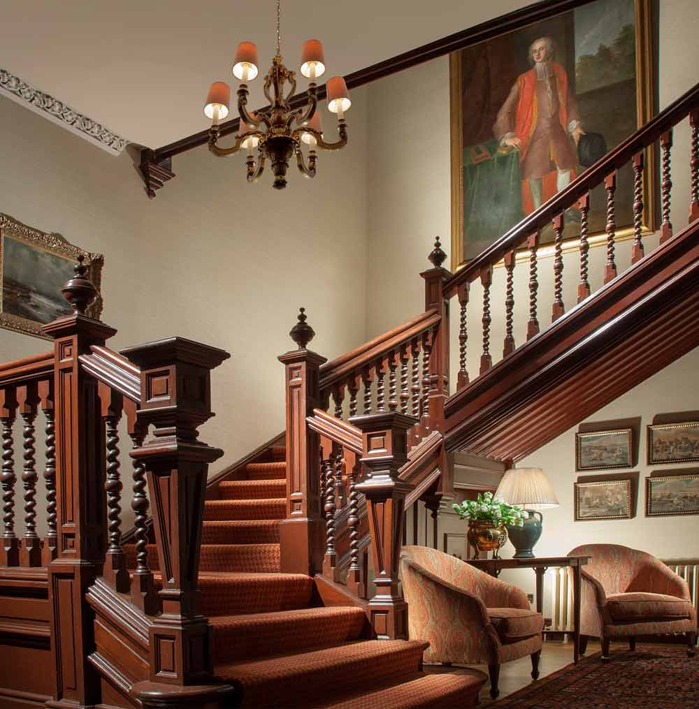 Staircase in Reception Area of Cromlix House Hotel