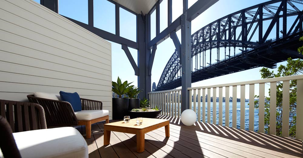 Balcony with View of Bridge at Pier One Sydney Harbour